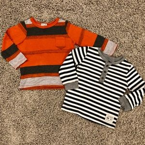 Two boys long sleeved shirts, size 12-18 months